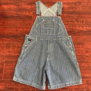 Vintage Route 66 Adjustable Stripe Overall Shorts